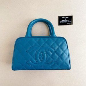 Chanel Caviar Leather Quilted Mini Bag Blue